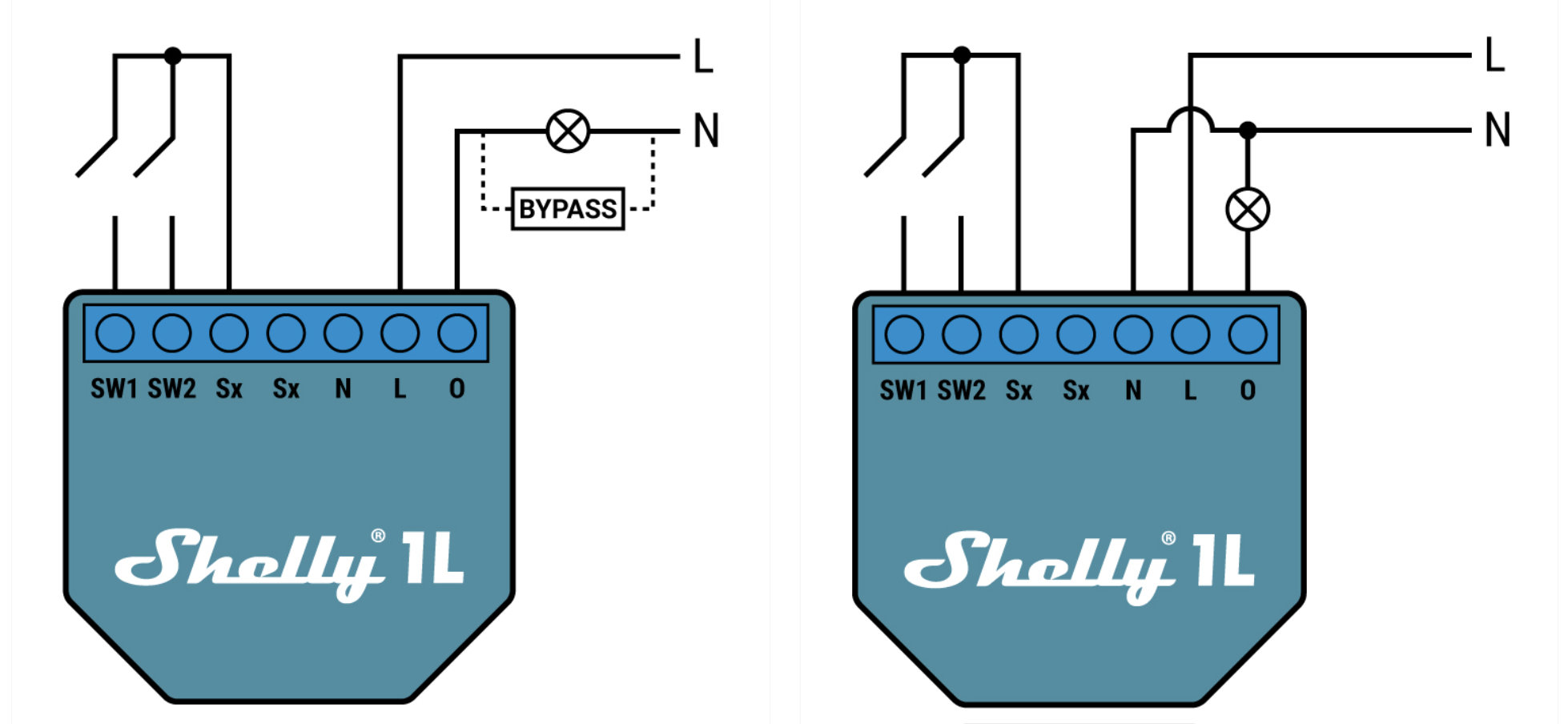 Shelly 1L ohne Bypass